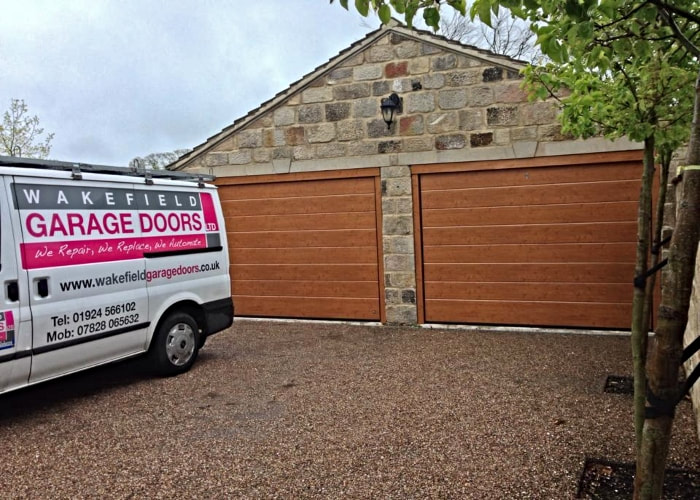 Golden Oak Sectional Garage Doors