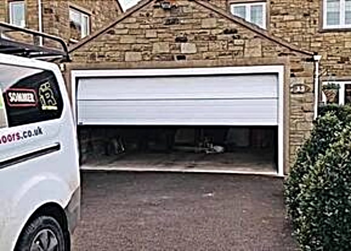 White Automatic Sectional Garage Door